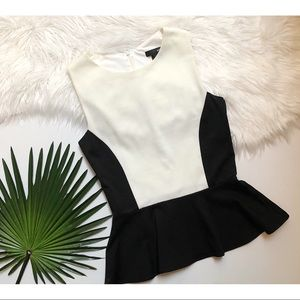 [Aqua] Black & White Color Block Peplum Tank